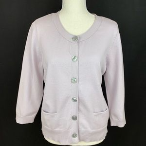 JJill Cotton Lilac Cardigan with 3/4 sleeves SizeM